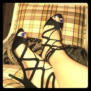 Black strappy pumps